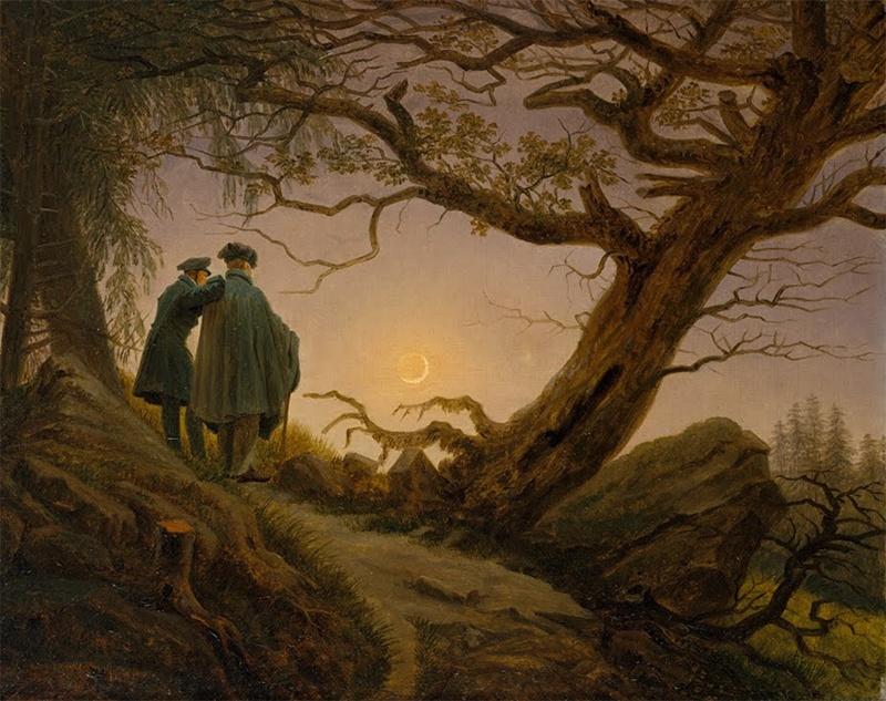 Deux hommes contemplent la lune