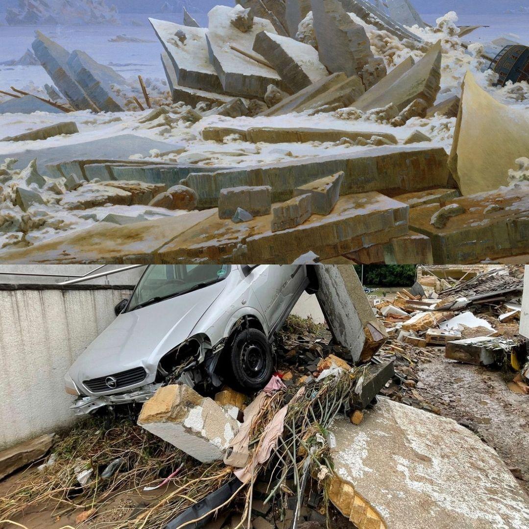 inondations tragiques en Allemagne et paysage de Friedrich