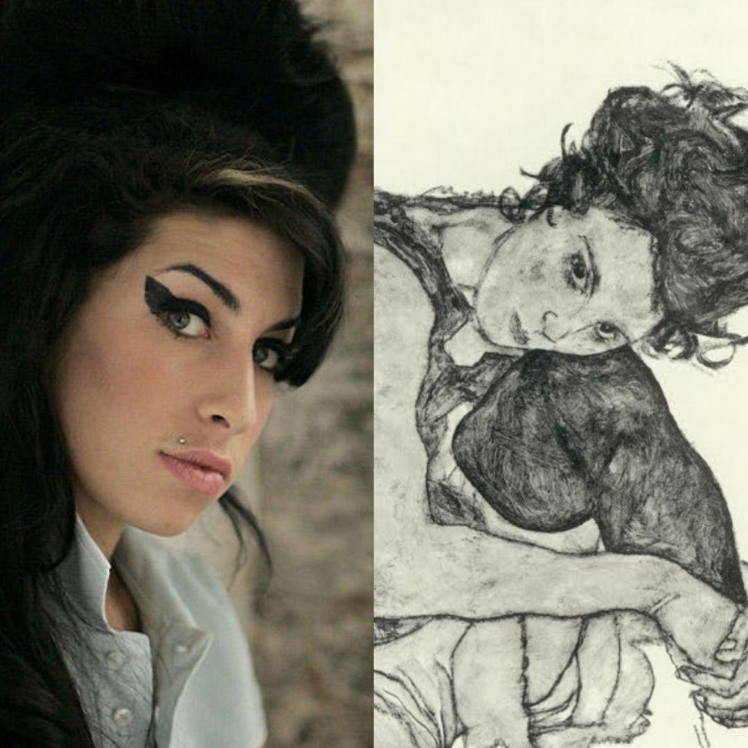 Amy Winehouse et un portrait d'Egon Schiele