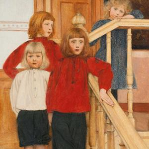 enfants dans un escalier