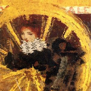 femme devant la roue d'un omnibus